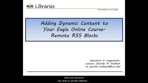 Thumbnail for entry Adding RSS Blocks to Your Eagle Online Course
