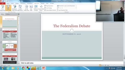 Thumbnail for entry The Federalism Debate: Professor Tannahill's Lecture of September 13, 2016