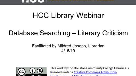 Thumbnail for entry HCC Library Webinar - Using HCC Library Databases - Literary Criticism