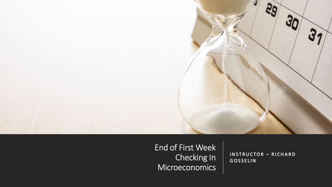 Thumbnail for entry End of First Week - Checking In - Micro