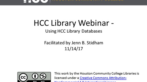HCC Library Webinar - Using HCC Library Databases to Find Journal Articles and More!