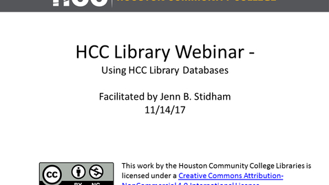 Thumbnail for entry HCC Library Webinar - Using HCC Library Databases to Find Journal Articles and More!