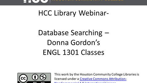 Thumbnail for entry Database Searching - Donna Gordon's ENGL 1301 Classes (Social Issues)