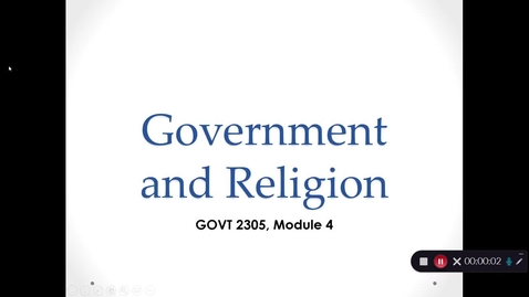 Thumbnail for entry Government and Religion, September 2020