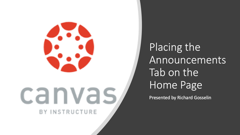Thumbnail for entry Placing Announcements on the Home Page