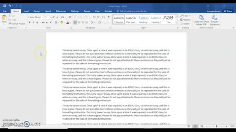 Thumbnail for entry Double Spacing a Paper in Microsoft Word