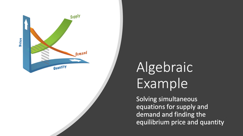 Thumbnail for entry Supply and Demand Equilibrium - Algebraic Example