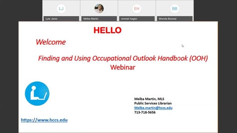Thumbnail for entry Finding and Using Occupational Outlook Handbook Webinar