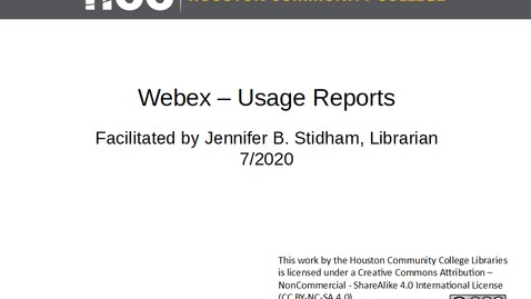 Thumbnail for entry Webex Usage Reports