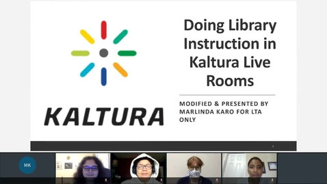 Thumbnail for entry Doing Library Instruction in Kaltura Live Rooms