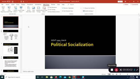 Thumbnail for entry Political Socialization, September 2020