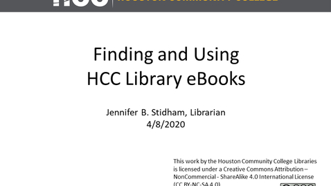 Thumbnail for entry Finding and Using HCC Library eBooks