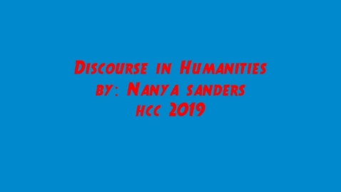 Thumbnail for entry Discourse in Humanities