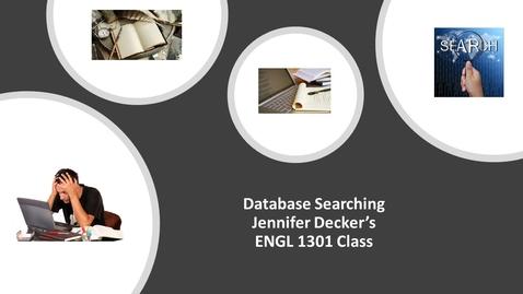 Thumbnail for entry Prof. Jennifer Decker's_ENGL 1301