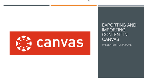 Thumbnail for entry Exporting and Importing Content in Canvas