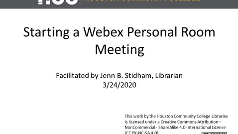 Thumbnail for entry Starting a Webex Personal Room Webinar