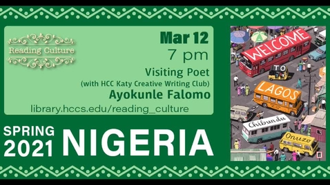 Thumbnail for entry Reading Culture: Visiting Poet Ayokunle Falomo