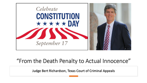 "Thumbnail for entry Constitution Day - ""From the Death Penalty to Actual Innocence"" - Judge Bert Richardson"