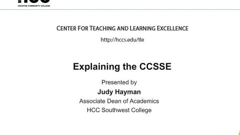 Thumbnail for entry Explaining the CCSSE for Student Engagement
