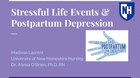Thumbnail for entry Stressful Life Events and Postpartum Depression