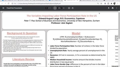 Thumbnail for entry ECON BS- The Variables Impacting Labor Force Participation Rate in the US