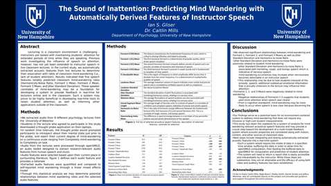 Thumbnail for entry The Sound of Inattention: Predicting Mind Wandering with Automatically Derived Features of Instructor Speech