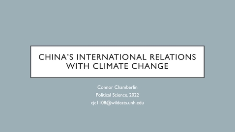 Thumbnail for entry China's International Relations with Climate Change