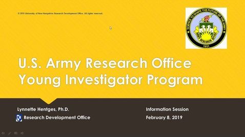 Thumbnail for entry Army Research Office Young Investigator Program Information Session                 2/8/19