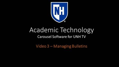Thumbnail for entry Carousel Training Video 3 - Managing Bulletins