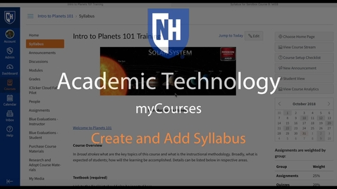 Thumbnail for entry myCourses - Create and Add Syllabus