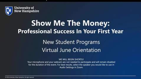 Thumbnail for entry **Show Me the Money: Professional Success in Your First Year