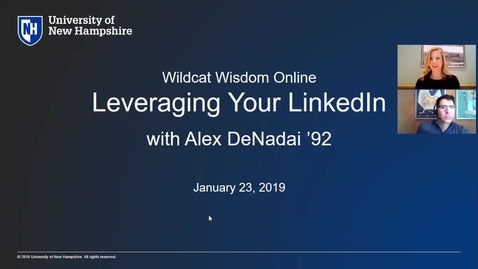 Thumbnail for entry Wildcat Wisdom Online- Leveraging your LinkedIn