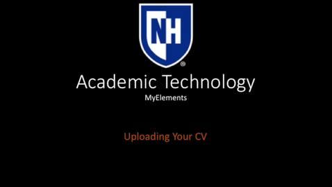 Thumbnail for entry myElements - Uploading Your CV