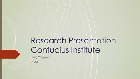 Thumbnail for entry China's Soft Power Project: Confucius Institute