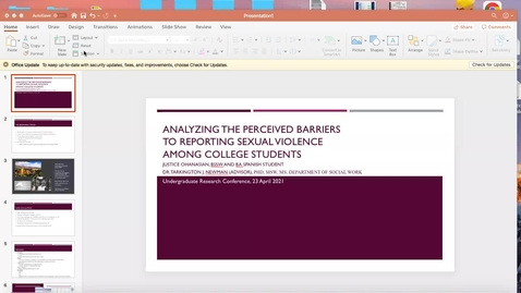 Thumbnail for entry Analyzing the Perceived Barriers to Reporting Sexual Violence Among College Students