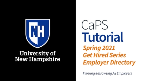 Thumbnail for entry How To: Spring 2021 Employer Directory for Hiring Events