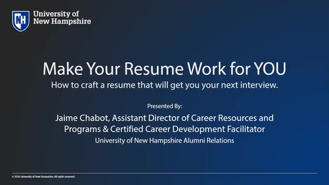 Thumbnail for entry How To Make Your Resume Work for You -  Alumni Professional Development