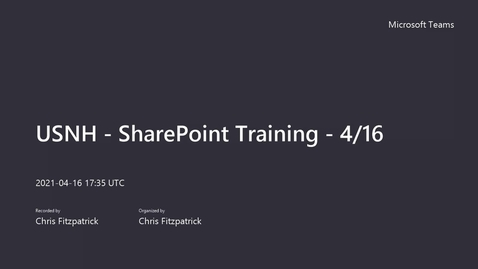 Thumbnail for entry USNH - SharePoint Training - 4_16