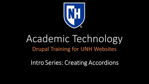 Thumbnail for entry Drupal Intro Series - Creating Accordions