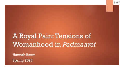 Thumbnail for entry A Royal Pain: Tensions of Womanhood in Padmaavat