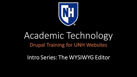 Thumbnail for entry Drupal WYSIWYG Editor