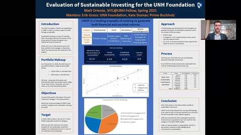 Thumbnail for entry INDEPENDENT RESEARCH. Evaluation of Sustainable Investing for the UNH Foundation