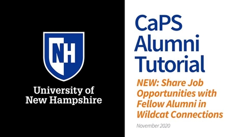 Thumbnail for entry How To: Post a Job for Alumni Using Wildcat Connections