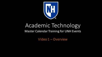 Master Calendar Video 1   Overview   UNH Media