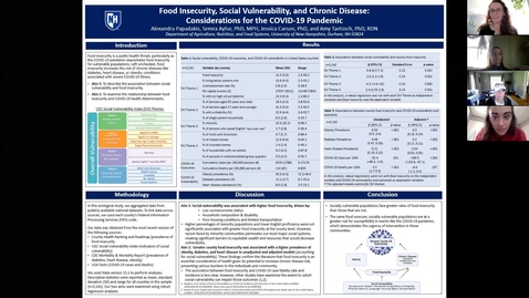 Thumbnail for entry National Disparities in Food Securi-ty, Social Vulnerability and Health Conditions: Considerations for the COVID-19 Pandemic