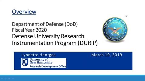 Thumbnail for entry Department of Defense (DoD) University Instrumentation Program (DURIP)       3/19/29