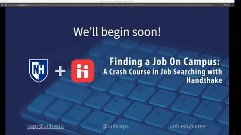Thumbnail for entry Webinar - Finding a Job On Campus: A Crash Course in Job Searching with Handshake!