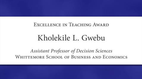 Thumbnail for entry Kholekile L. Gwebu Faculty Excellence 2012