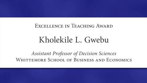 Thumbnail for entry Kholekile L. Gwebu Faculty Excellence 2012