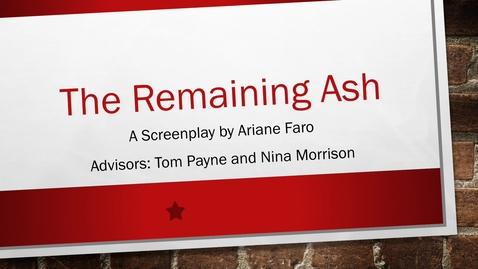 Thumbnail for entry Ari Faro, The Remaining Ash